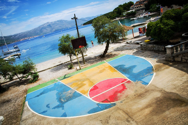 philippines basketball court by ocean