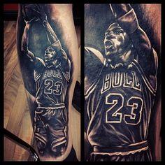 Michal Jordan Leg Tattoo