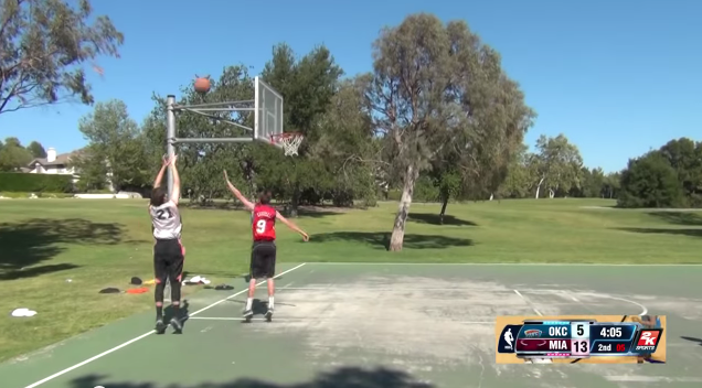 NBA 2K14 in Real Life Shot from Behind Backboard