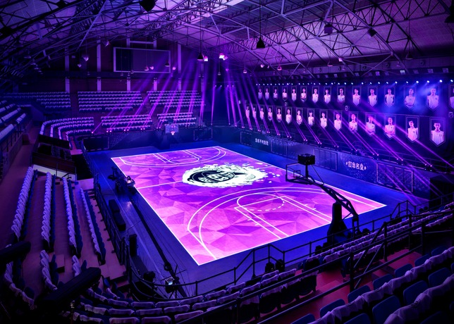 The state of the art basketball court they built for kobe for Built in basketball court