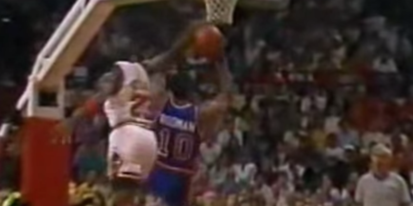 Michael Jordan Blocks Dennis Rodman